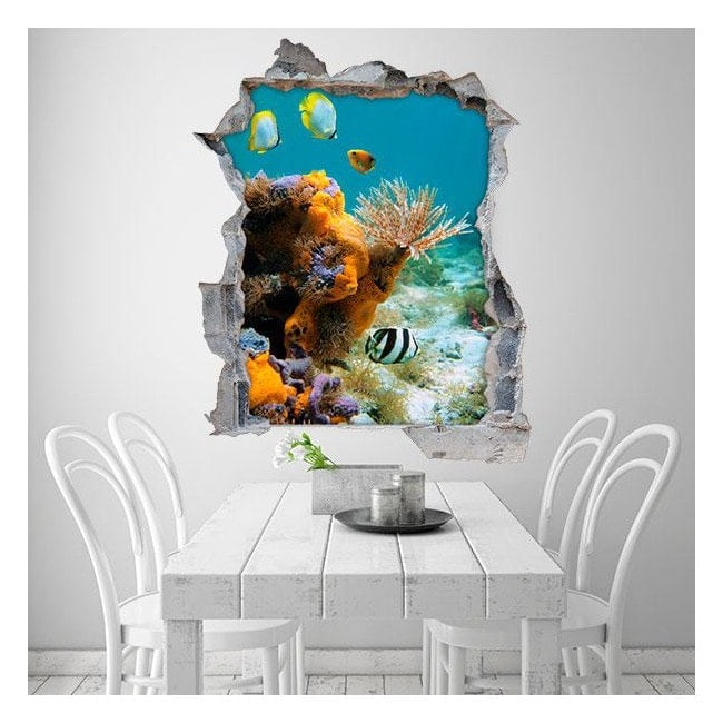 3D fish and corals from the sea vinyl
