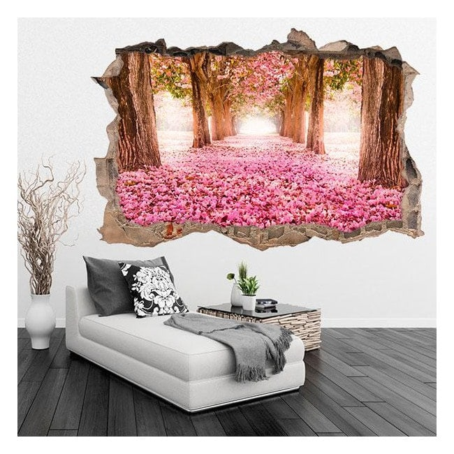 Vinyl 3D flowers road