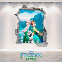 Vinyl Disney Anna and Elsa Frozen hole 3D wall