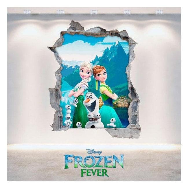 Vinyl Disney Anna and Elsa Frozen hole 3D wall