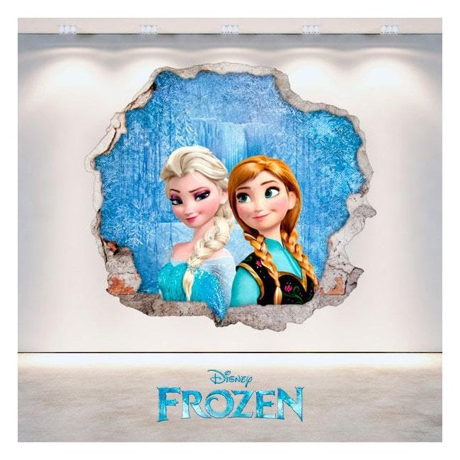 Disney vinyl Frozen Anna and Elsa hole 3D wall