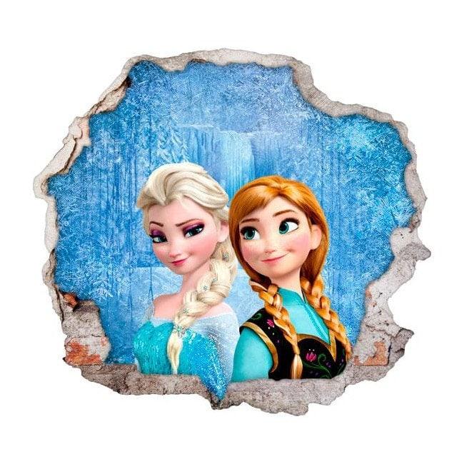 Disney Vinyl Frozen Anna And Elsa Hole 3d Wall