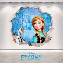 Disney vinyl Frozen Anna and Olaf hole 3D wall