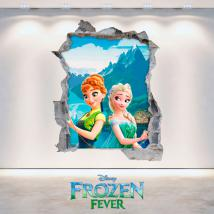 Disney vinyl Frozen Elsa and Anna 3D hole wall