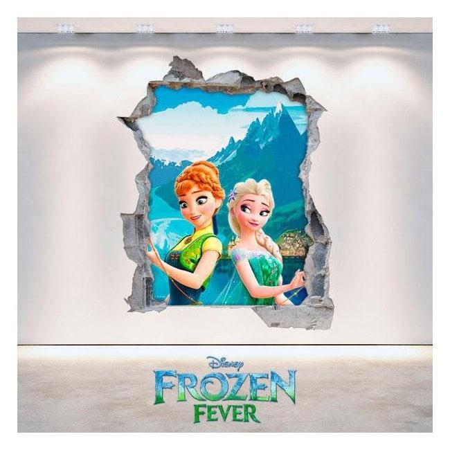 Disney vinyl Frozen Elsa and Anna 3D hole wall
