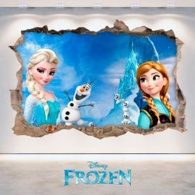 Disney vinyl Frozen Elsa & Anna hole 3D wall
