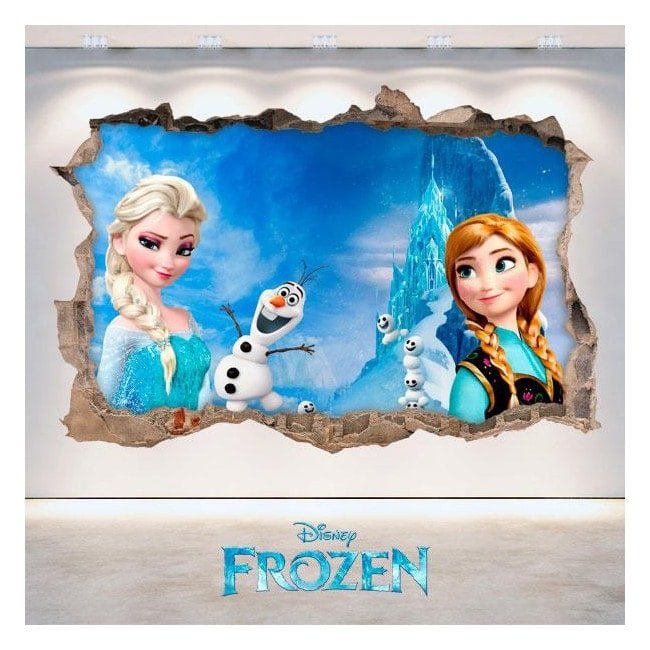 3D Disney vinyl Frozen Elsa & Anna hole wall