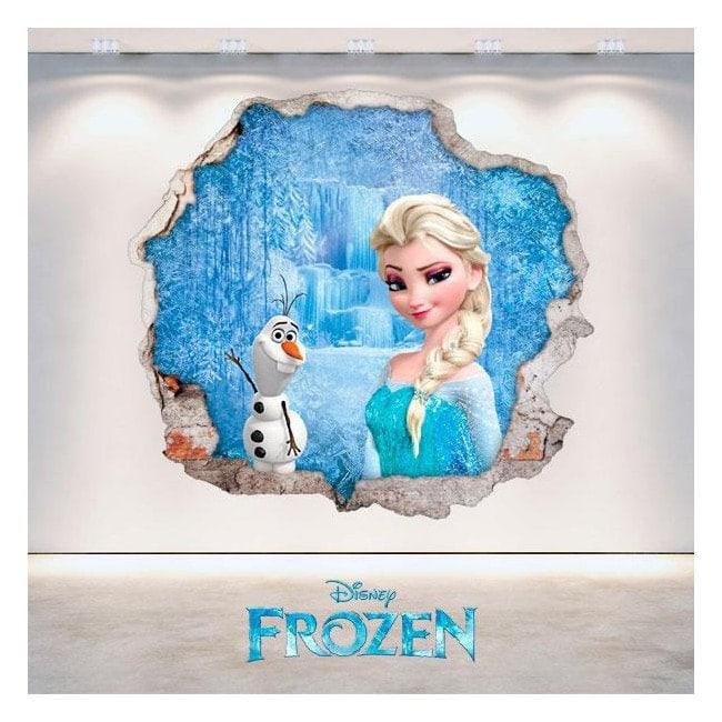Disney vinyl Frozen Elsa and Olaf 3D hole wall