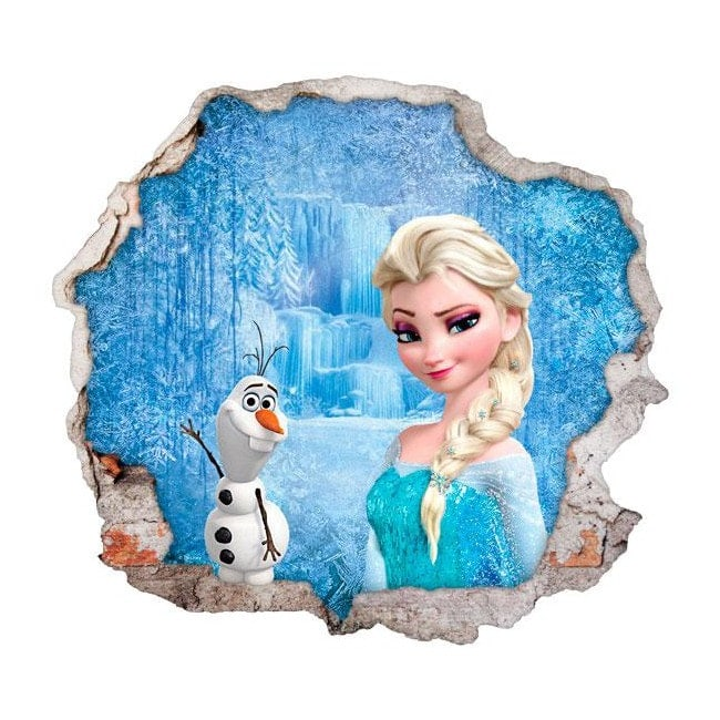 Disney Vinyl Frozen Elsa And Olaf 3d Hole Wall
