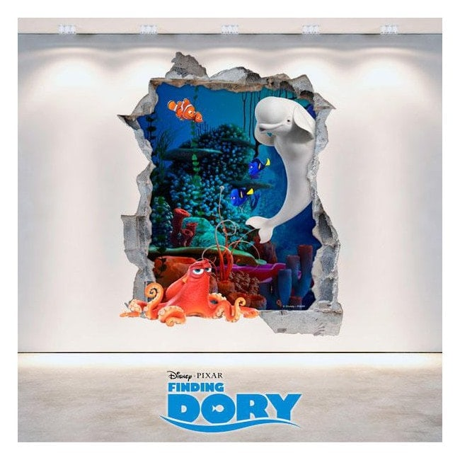 3D Disney Dory vinyl hole wall