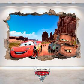 3D Disney Cars vinyl hole wall