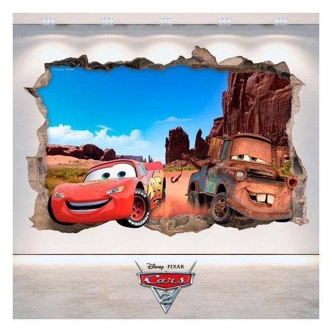 3D Disney Cars vinyl hole wall