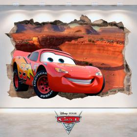 Sticker 3D Disney Cars 2 hole wall