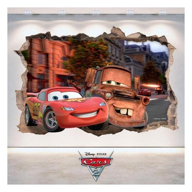 Adhesives 3D hole wall Disney Cars 2