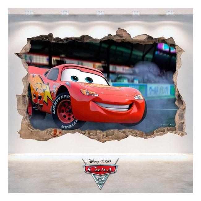 Sticker Disney Cars 2 hole wall 3D
