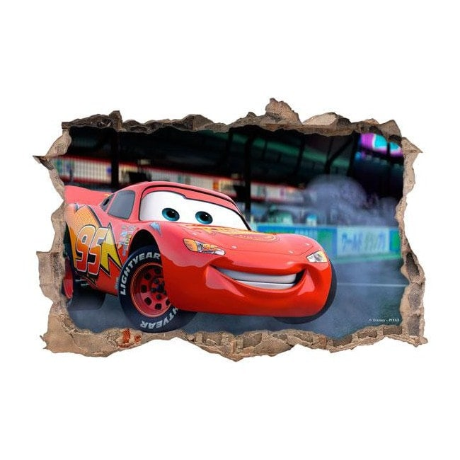 sticker disney cars 2 hole wall 3d