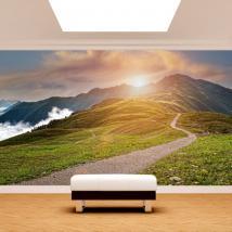 Photo wall murals mountain sunset