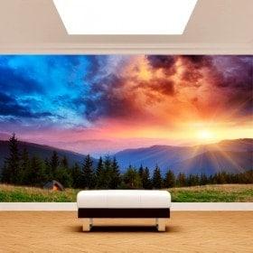 Fotomural sunset mountains