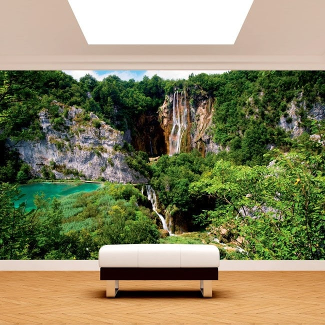 Photo wall murals waterfalls in the mountains