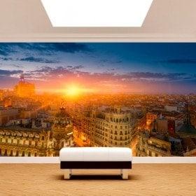 Photo wall murals Madrid Gran Via sunset