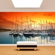 Photo wall murals Barcelona port