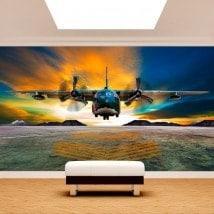 Aircraft landing photo wall murals