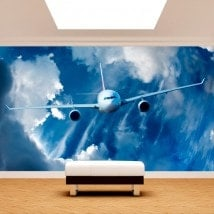Airplane photo wall murals in the sky