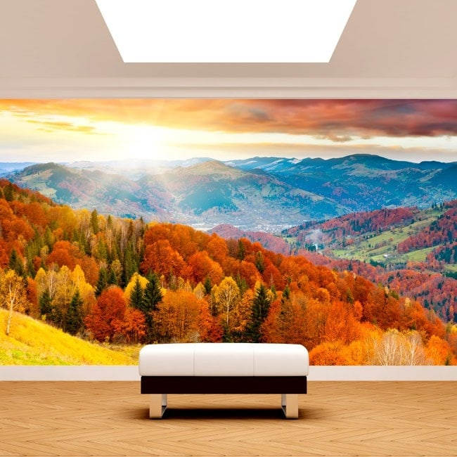 Photo wall murals sunset in the mountains