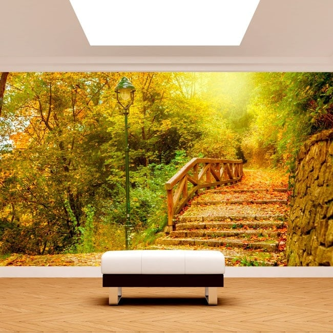 Bridge photo wall murals and trees autumn