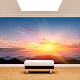 Photo wall murals sunset in mountains