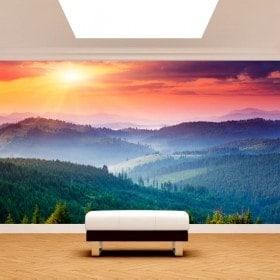Photo wall murals wall sunset mountains