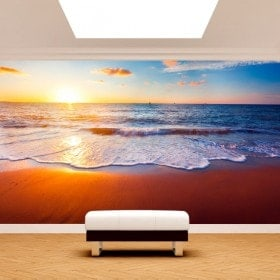Photo wall murals sunset on the beach