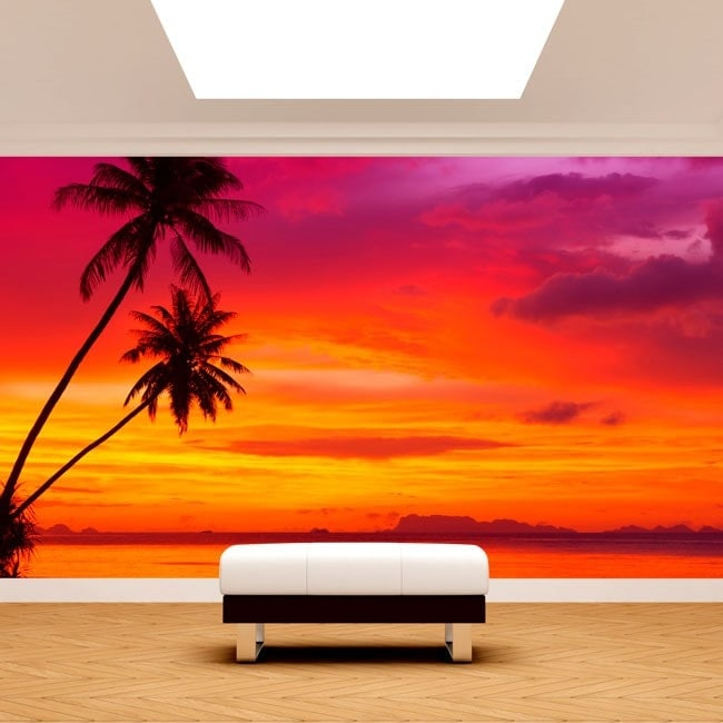 Photo wall murals palms sunset beach for Beach sunset mural