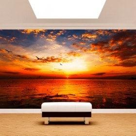 Fotomural sunset Sun sea