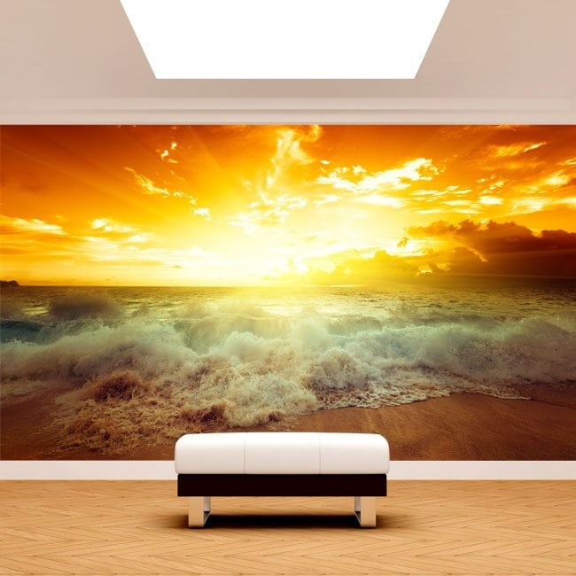Fotomural Sun Sunset Beach