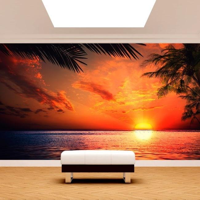 Photo wall murals Sun Sunset Beach