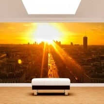 Paris photo wall murals at sunset