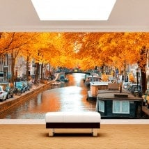 Amsterdam photo wall murals in autumn