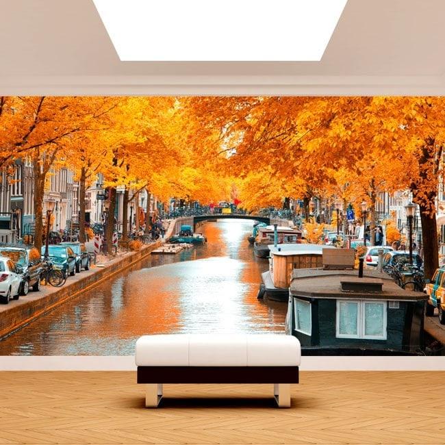 Amsterdam photo wall murals in autumn