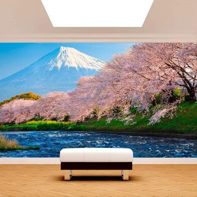 Mount Fuji Photo wall murals trees cherry blossom