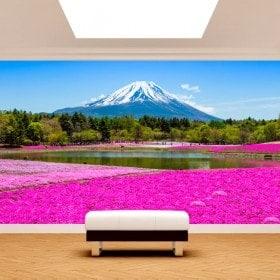 Photo wall murals flowers Roses gardens Mount Fuji
