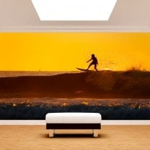 Surfer photo wall murals in the wave
