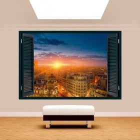 Windows 3D Madrid Gran Via sunset