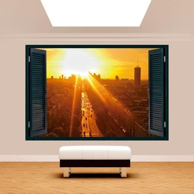 Windows 3D Paris at sunset