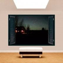 Windows 3D cabin in nature