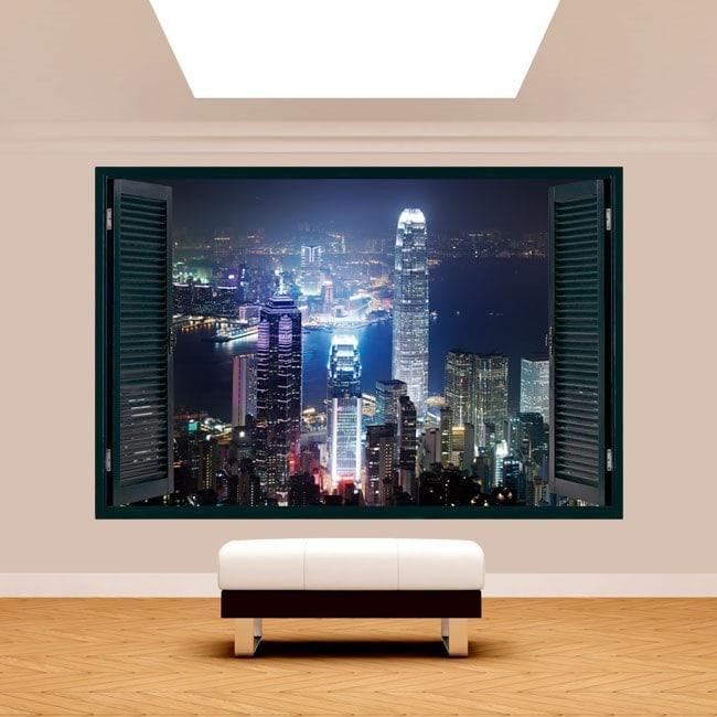 Hong Kong City 3D window