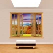 Windows 3D sunset mountains