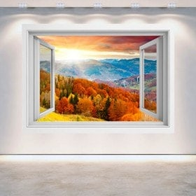 Windows 3D sunset in the mountains