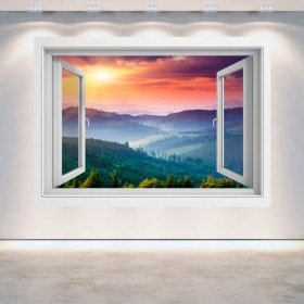 Windows 3D walls sunset mountains