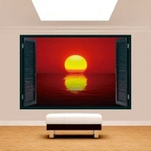 Windows 3D Sun sunset sea